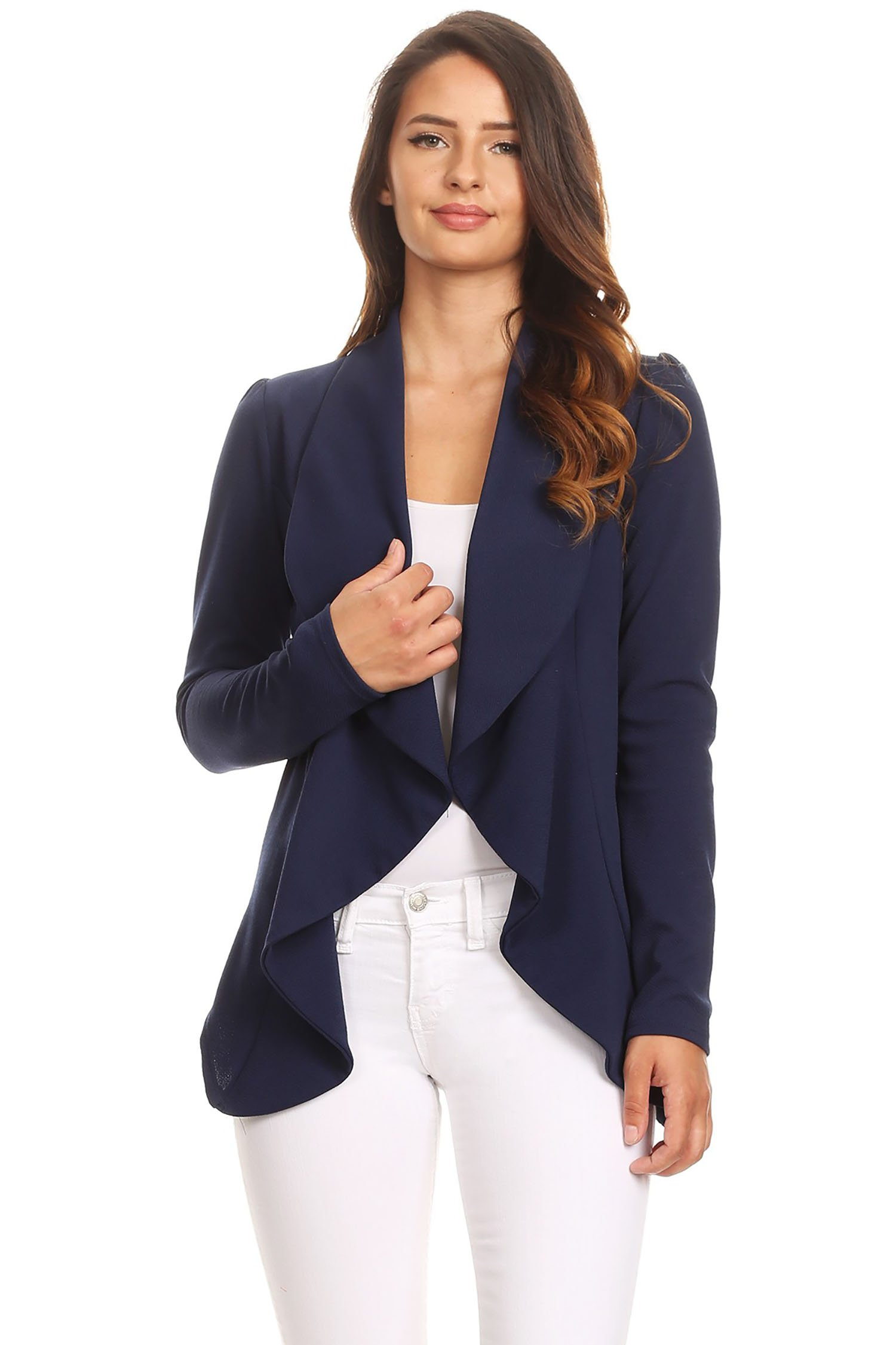 Women's Stretch Long Sleeves Open Front Blazer/Made in USA (S-3XL) Navy 3XL