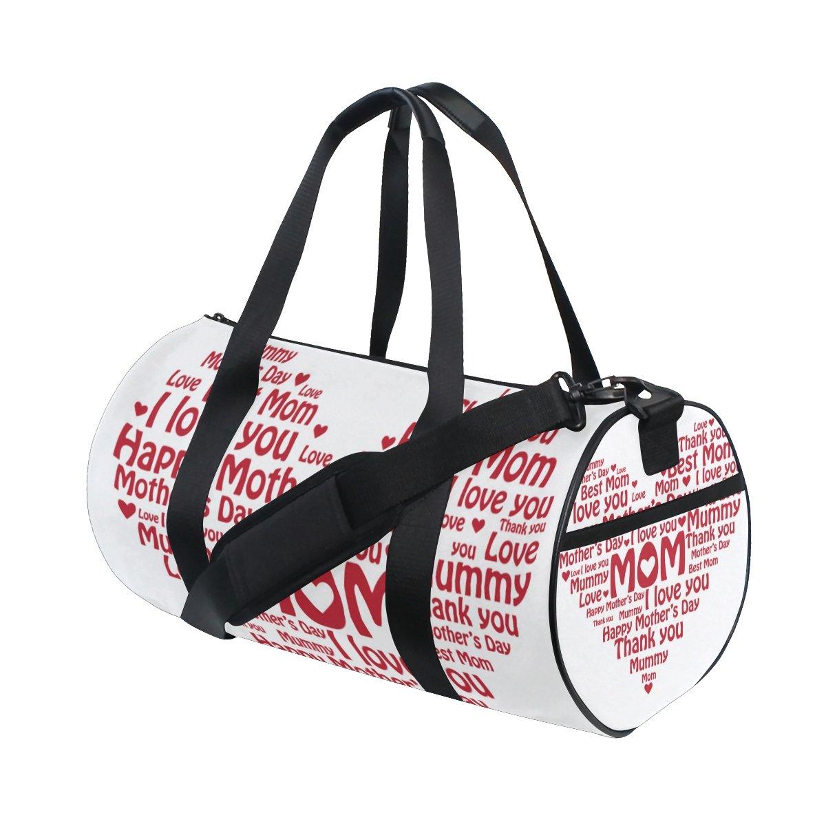 U LIFE Happy Mothers Day Floral Flowers Love Mom Sports Gym Shoulder Handy Duffel Bags for Women Men Kids Boys Girls