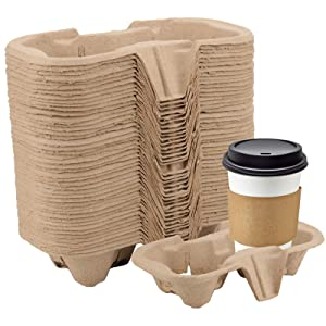 KEILEOHO 100 Pack 2-Cup Pulp Fiber Drink Carrier, to Go Coffee Cup Holder, Disposable Drink Carrier Tray for Hot or Cold Drinks, Coffee Shops, Takeaway Shops, Restaurants,Grocery Stores, Juice Bars