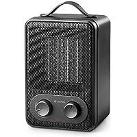 [ SOLDES ] Zanmini Réchauffeur électrique portable radiateur soufflant en céramique 1800W PTC mini radiateur à vent chaud chauffage pour la cuisine, salle à manger, chambre, bureau (Noir)