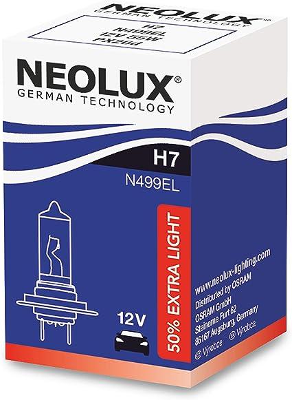 NEOLUX Extra Light H7, faro halógeno, N499EL, 12 V, 55 W, caja plegable (1 bombilla): Amazon.es: Coche y moto