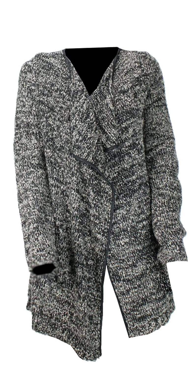 INC International Concepts Black Boucle Knit Belted Cardigan M