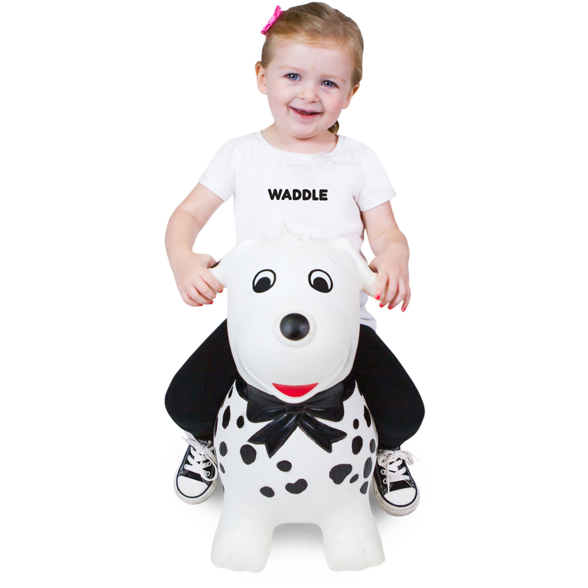 WADDLE Favorite Dog Toy Hopper Ride On Inflatable Animal Bouncer Kids Bouncy Horse for Boys Or Girls Interactive Stimulation Sensory Jumping Toys Spots Dalmatian For Toddlers and Children Gift Idea