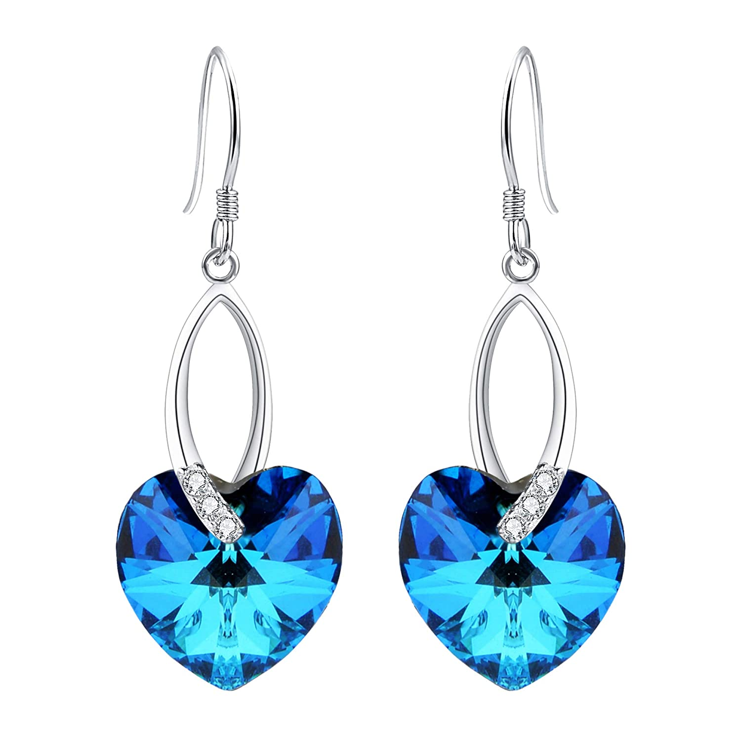 7f96539de Amazon.com: EleQueen 925 Sterling Silver CZ Love Heart French Hook Dangle  Earrings Bermuda Blue Made with Swarovski Crystals: Jewelry