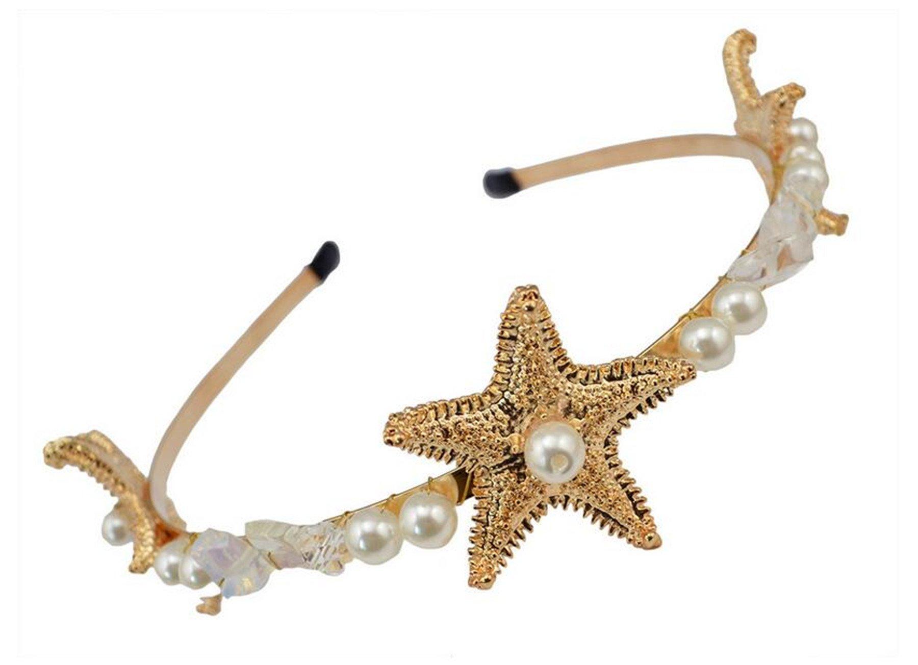 Wiipu Faux Pearl Starfish Headband Star Hairband Boho Hair Accessories Headwear(B659)
