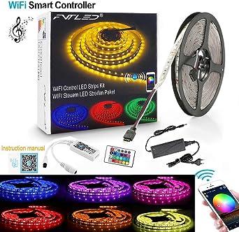 12V 5m RGBWW 4 in 1 LED Streifen LED Strip Band Leiste Trafo WIFI Controller Kit