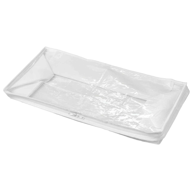 biancheria da letto e coperte mDesign Set da 2 Scatole armadio in tessuto con cerniera Contenitore portaoggetti in polipropilene traspirante bianco//trasparente Organizer Box ideale per vestiti