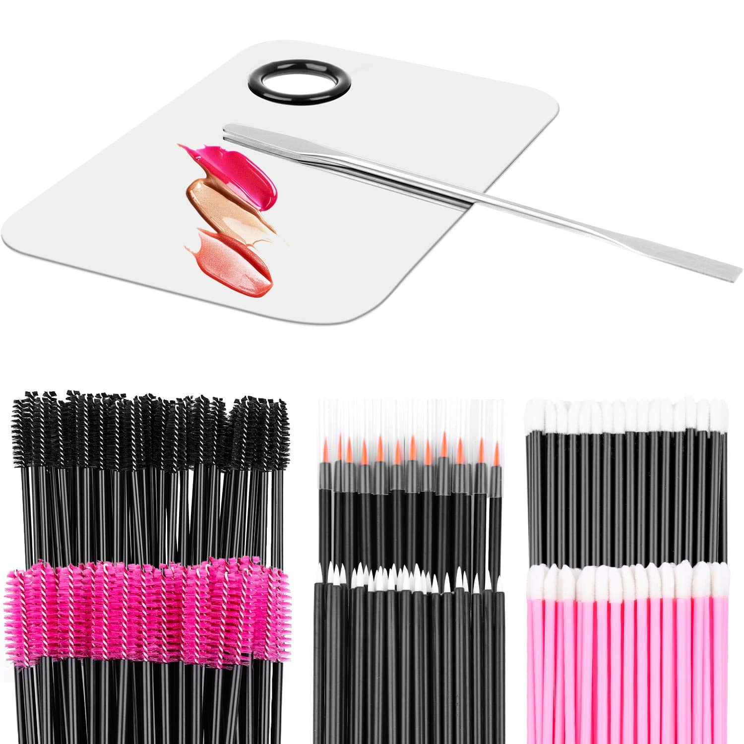 Makeup Mixing Palette with Spatula and 250PCS Disposable Makeup Applicators Tools Kit (Disposable Mascara Wands, Lipstick Applicators, Eyeliner Brushes)