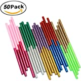 Ewparts 50 pack Glitter Hot Melt Adhesive Gule Stick 7mm x 100mm Multi Color