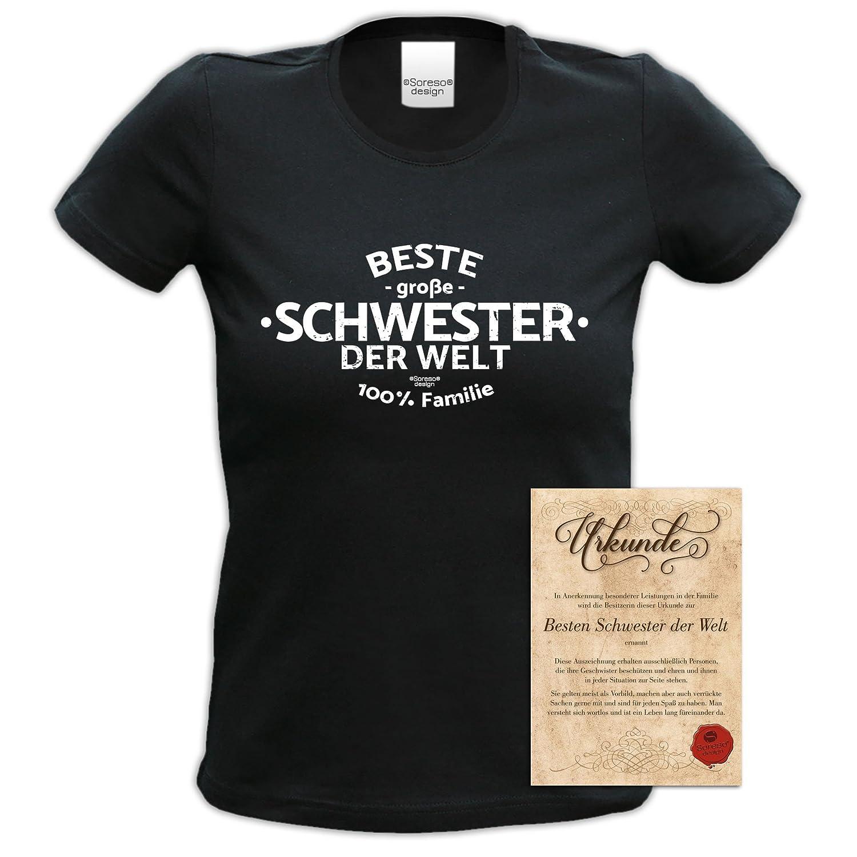 Beste große Schwester der Welt Geschenk-Set : T-Shirt und Urkunde ...