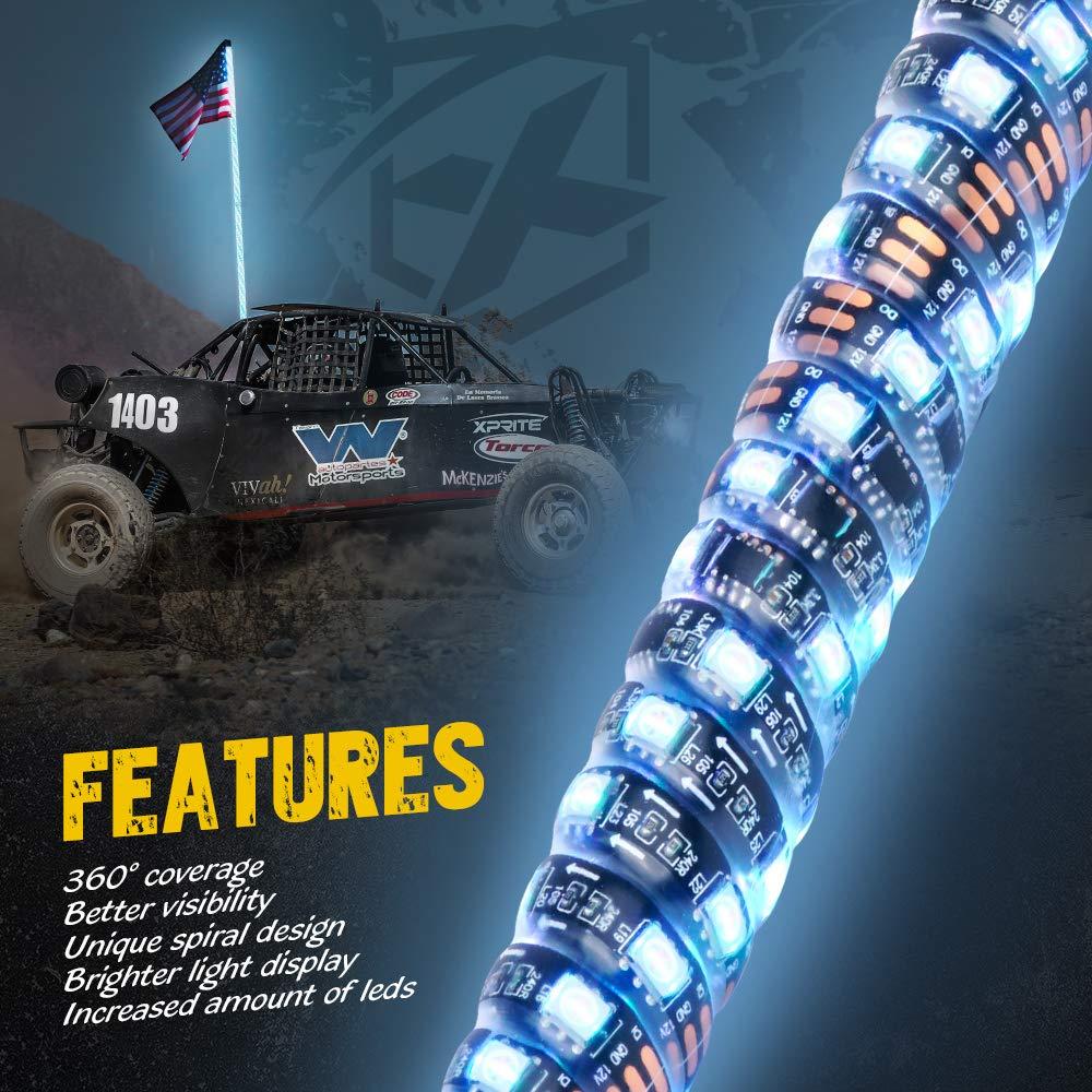 Amazon.com: Xprite 4ft Spiral RGB LED Whip Light Remote Control LED Chase Light Flag Pole for UTV ATV Truck Polaris RZR XP 1000 Can am Maverick X3: ...