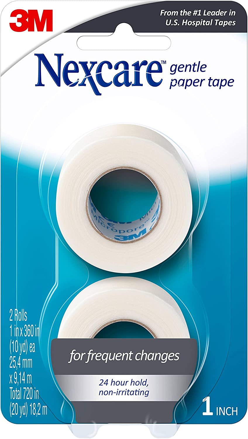 Nexcare Gentle Paper Carded First Aid Tape 1 in x 10 yds(2 rolls): Health & Personal Care