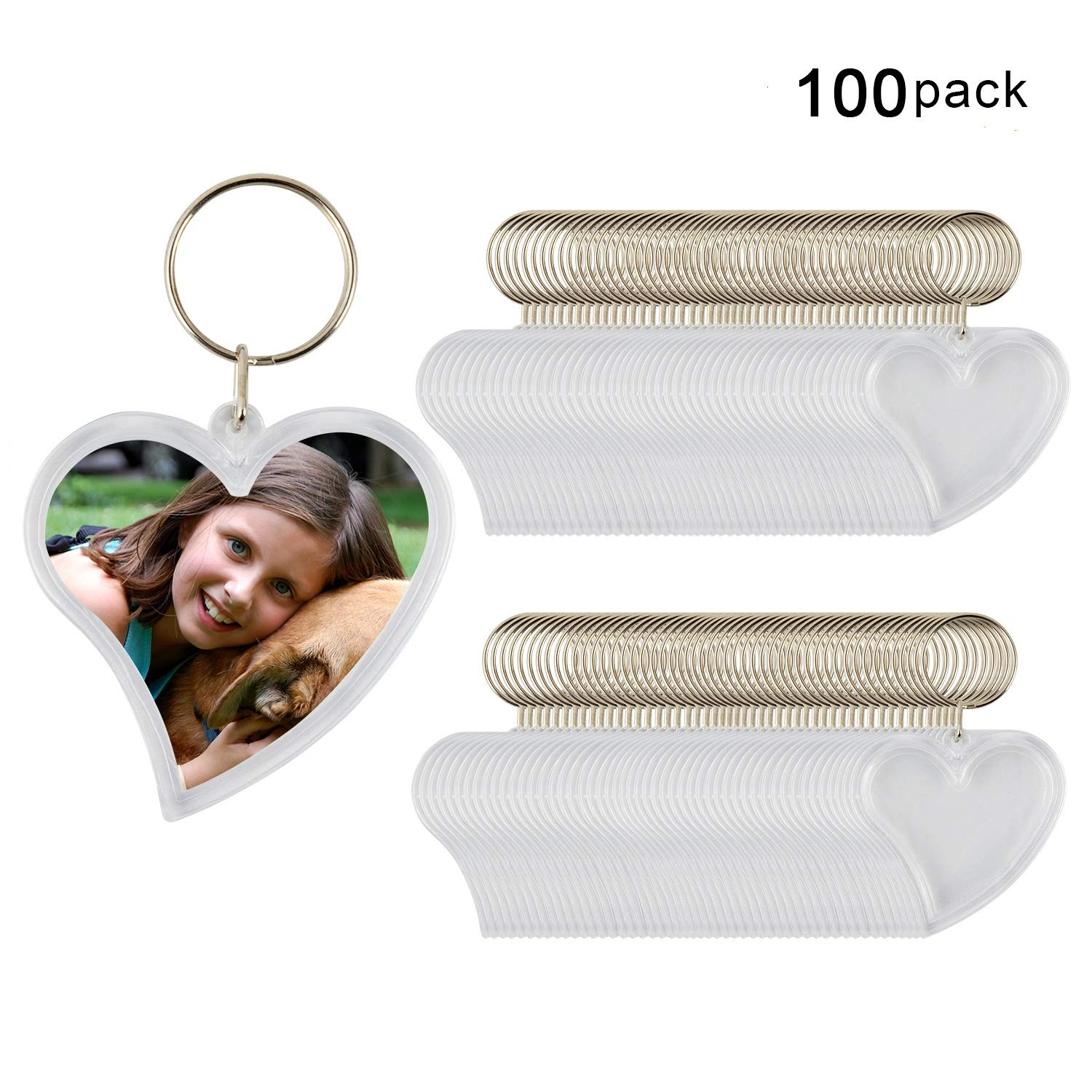 Blank Keychain, Heart Shape 100pcs Custom Personalised Insert Photo Acrylic Blank Keyring WholeSale (Small)