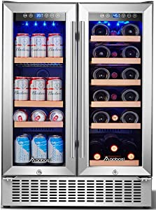 Aobosi 24 Inch Beverage and Wine Cooler Dual Zone, 2-IN-1 Wine Beverage Refrigerator with Independent Temperature Control, Blue LED Light, Quiet Operation, Energy Saving, Hold 18 Bottles and 57 Cans