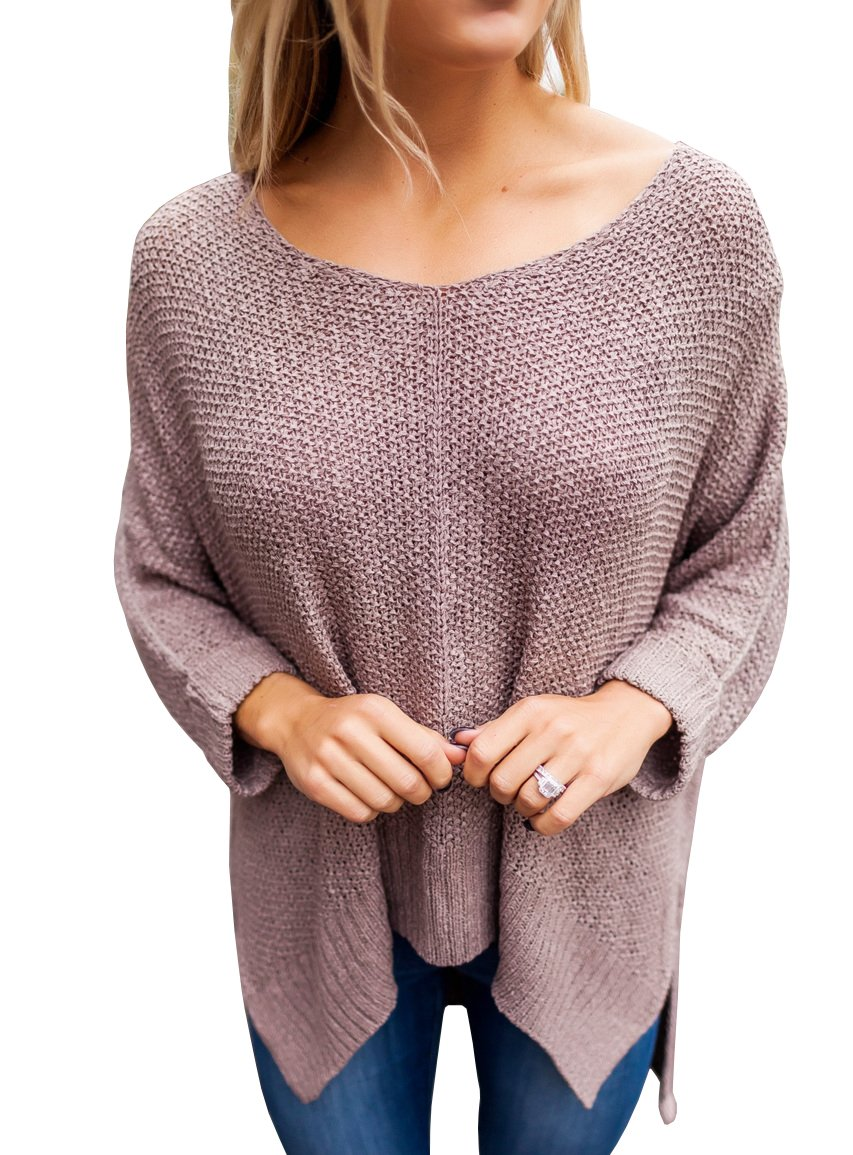 Niitawm Womens Casual V Neck Loose Knit Sweaters Asymmetrical hem Oversized Sweater Pullover Tops (S,Coffee)