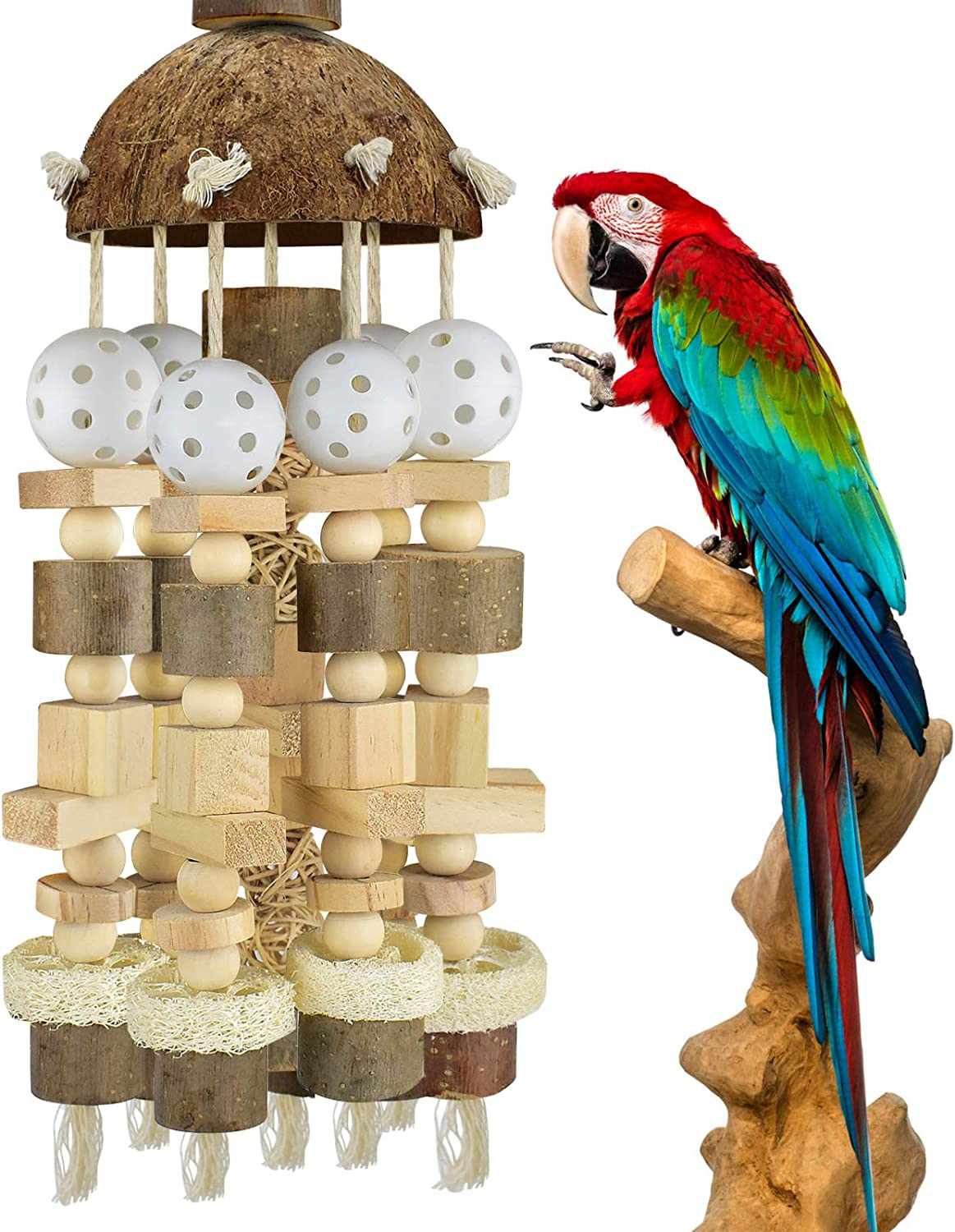 KATUMO Bird Parrot Toy, Large Parrot Toy Natural Wooden Blocks Bird Chewing Toy Parrot Cage Bite Toy Suits for African Grey Cockatoos Amazon Parrots Ect Large Medium Parrot Birds