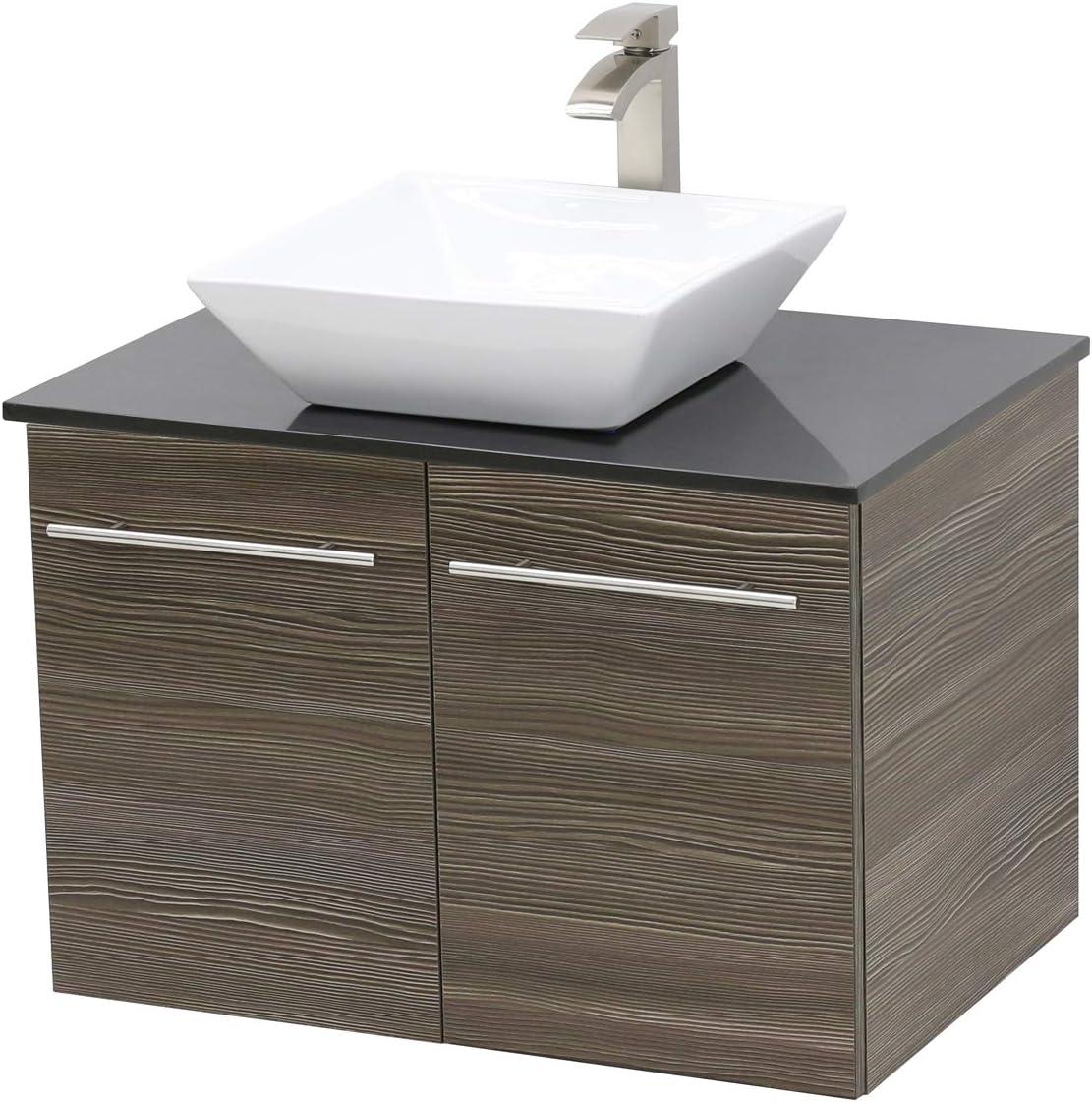 WindBay Wall Mount Floating Bathroom Vanity Sink Set. Taupe Grey Vanity, Black Flat Stone Countertop Ceramic Sink – 24