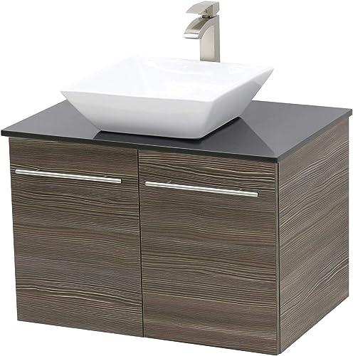 WindBay Wall Mount Floating Bathroom Vanity Sink Set. Taupe Grey Vanity