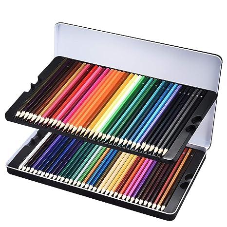 72 Crayons De Couleur Avec Boîte Lismile Crayons Colorés Aquarelle Coloriage Crayons Dartiste Dessin Pour Jardin Secret Crayon En Bois Avec étui
