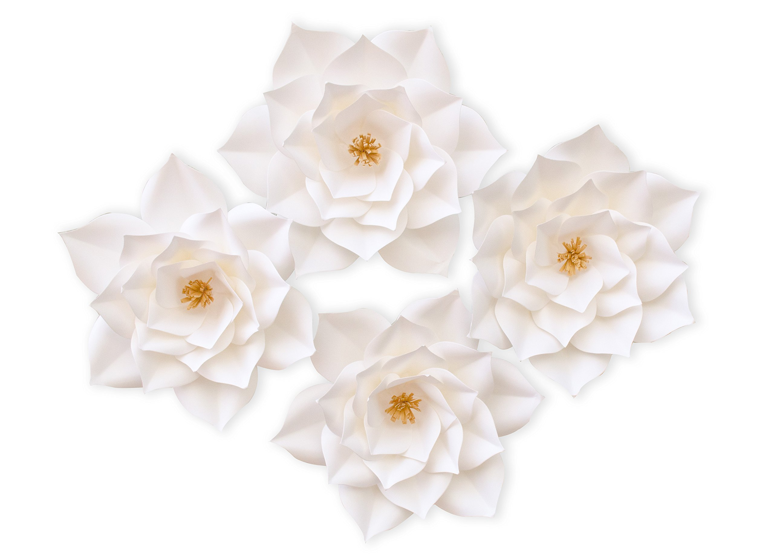 KEIRA PRINCE CRAFTS Paper Flowers, Beautiful Handmade Set of 4 Pink Flowers 20cm/8inch (White)