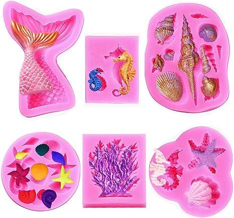 Seashells Seahorse Coral Silicone Fondant Mold Seashell Silicone Mold,Silicone Mould,Fondant Mould,Chocolate Mold,Gumpaste
