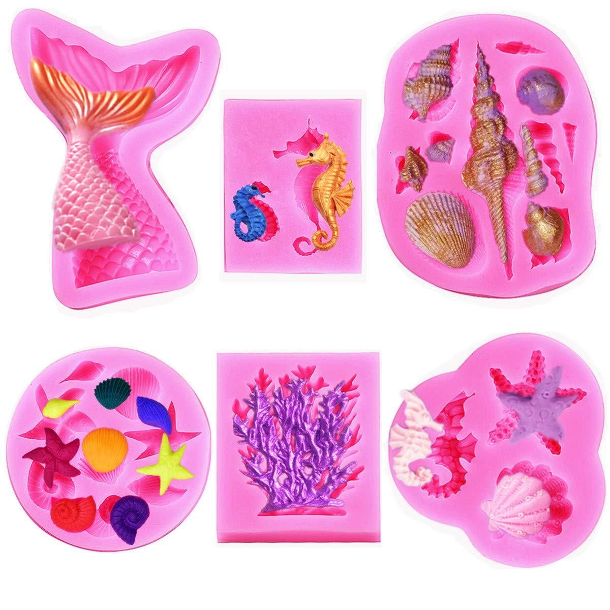 Marine Theme Fondant Silicone Mold,Seashell,conch, Mermaid Tail,Seahorse,starfish,coral, DIY Handmade Baking Tools for Mermaid Theme Cake Decoration(6pack)