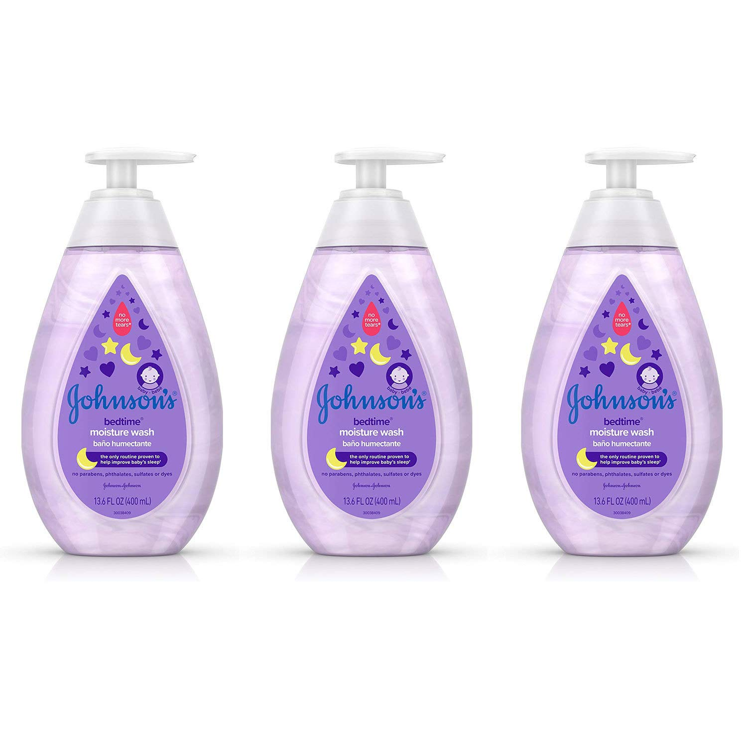 Johnson's Bedtime Baby Moisture Wash with Coconut Oil, Washes Away 99.9% of Germs, Tear-Free Night Time Bath Wash…