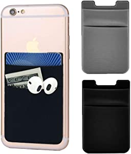 Adhesive Phone Pocket,Cell Phone Stick On Card Wallet,Credit Cards/ID Card Holder(Double Secure) with 3M Sticker for Back of iPhone,Android and All Smartphones-Double Pocket (1 Black&1 Grey)