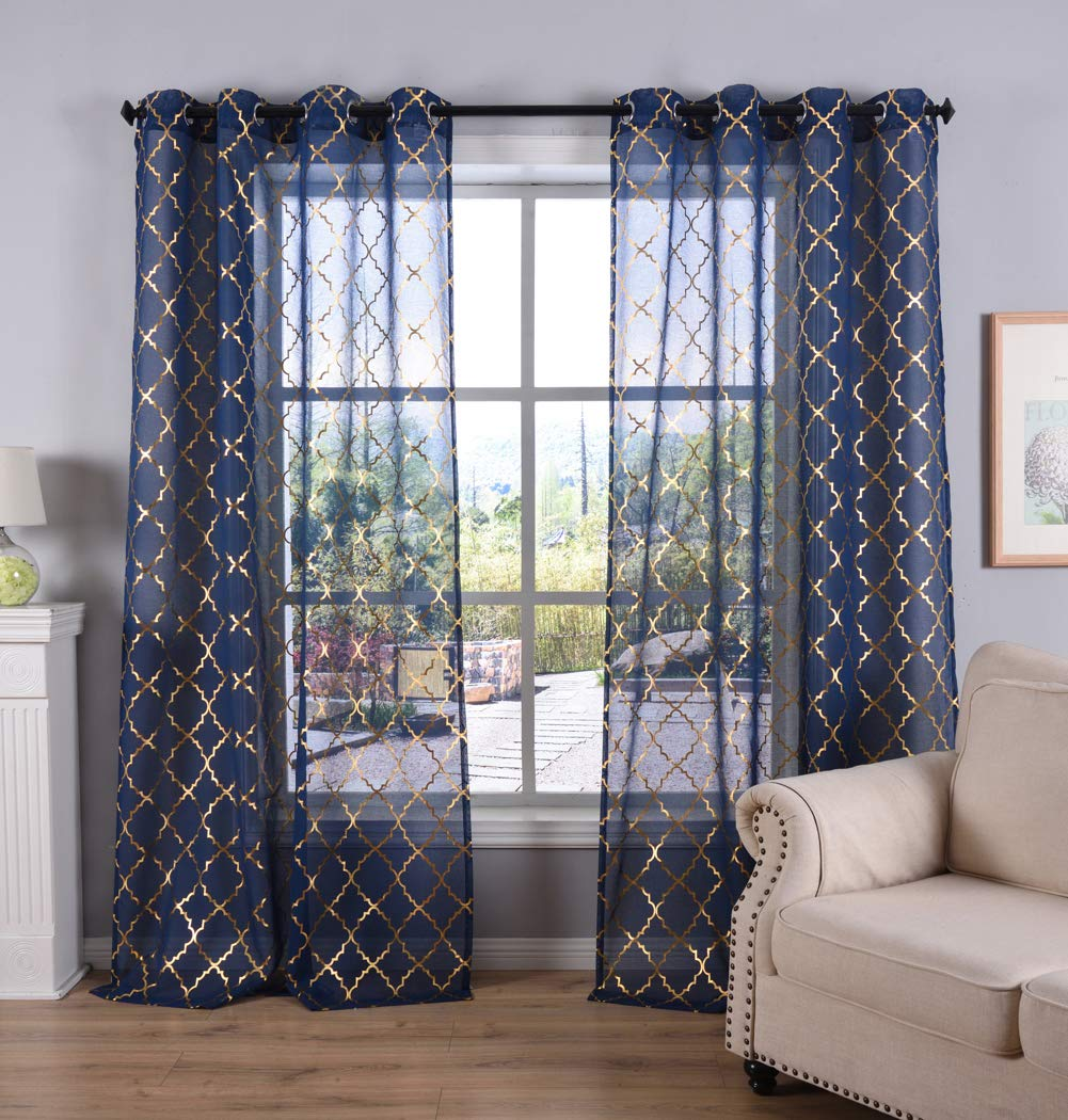 Kotile Navy Blue Sheer Curtains for Kids Room, Grommet Top Window Treatment with Gold Moroccan Tile Print Short Curtains for Bedroom, 52 x 63 Inch, Set of 2 Panels
