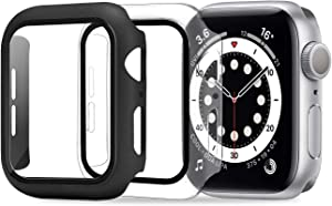 ULUQ Case Compatible with Apple Watch Series 6/5/4/SE 44mm Built in HD Screen Protector, 2 Pack Ultra-Thin Hard All-Around Protective Cover (Black,Clear)