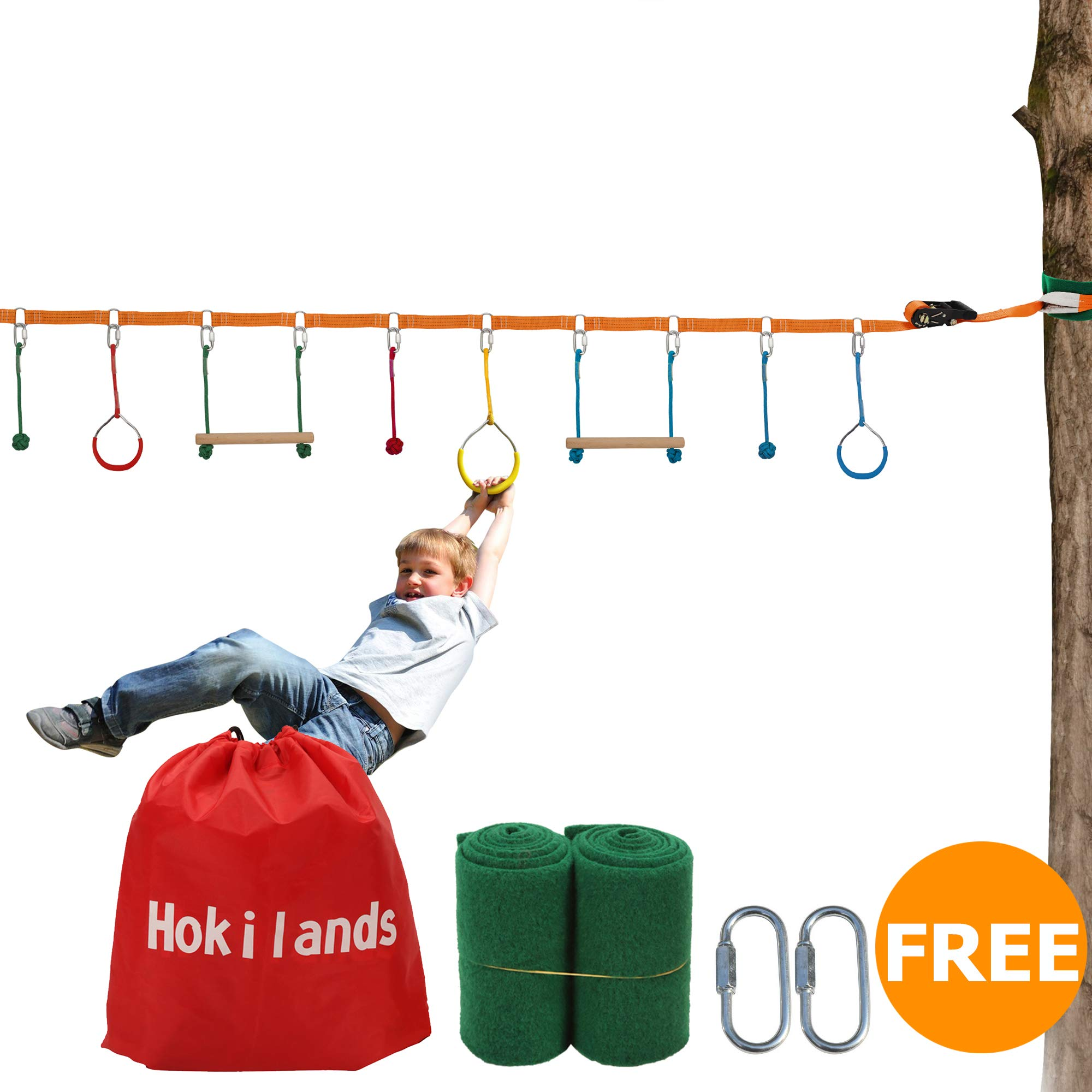 Hokilands 45ft Ninja Slackline Monkey Bars Kit, Kids Warrior Training Obstacle Course Equipment, Jungle Gym Obstacle Course, Slack line Gymnastic Bar, Free Tree Protector and Carry Bag by Hokilands
