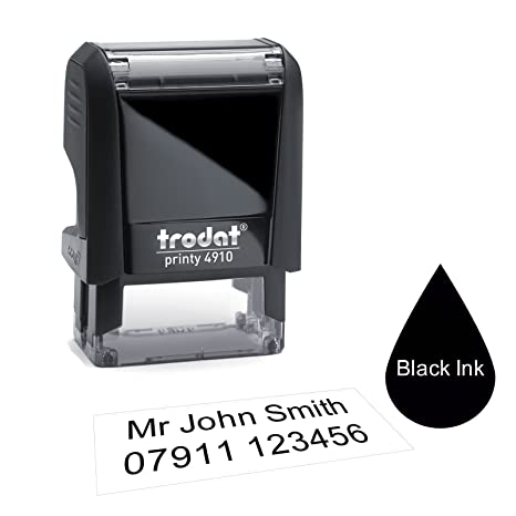 RED Blue Green Up to 4 Lines of Text Ink Colours; Black Trodat 4912 48 x 18mm -Personalised Custom Made Self-Inking Business Address Rubber Stamp Purple