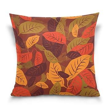 Amazon Double Sided Autumn Fallen Leaves Cotton Velvet Square Impressive Decorative Pillow Slipcovers