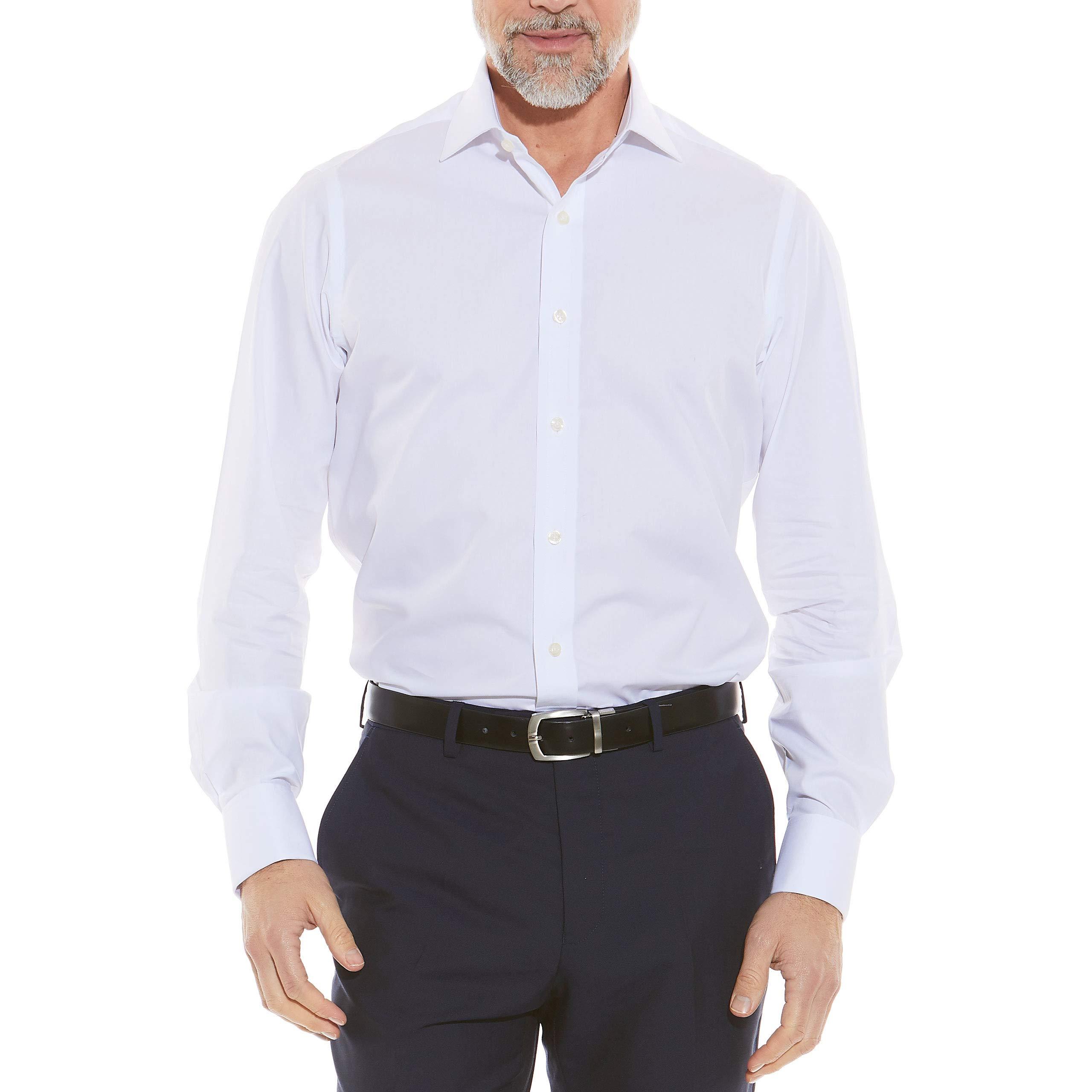 French Cuff Cuff 16 Standard Savile Row Mens White Twill Slim Fit Cutaway Collar Shirt
