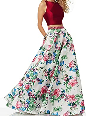 b6028229a1 PromC Women Floral 2 Piece Prom Dresses Long 2019 Formal Evening Gown Size 2  Burgundy