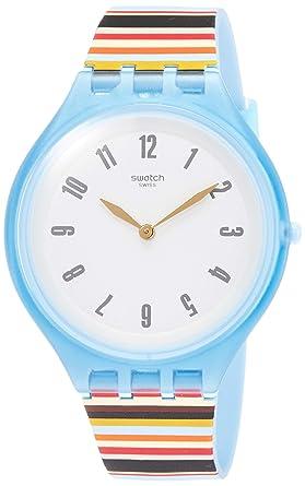Swatch Reloj Analogico para Mujer de Cuarzo con Correa en Silicona SVUL100: Amazon.es: Relojes