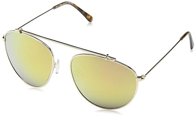 Womens Mirrored Pilot Sunglasses, Gold, 55 New Look