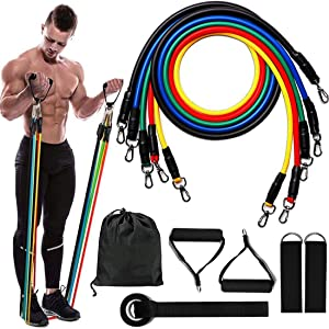 Exercise Resistance Bands and Workout Fitness Set - Portable Home Fitness Equipment with Handles for Men Women Yoga, Crossfit, Pilates, Physio Home Gym Equipment for Arm Legs & Glutes