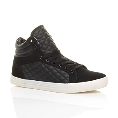 Ajvani Mens flat lace up quilted casual hi high top ankle trainer boots  size 7 41 bd5b4f365