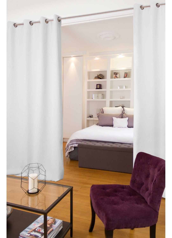 Moondream HM69R11ASP Vorhang, Raumtrenner, Baumwolle, Baumwolle, weiß, 250x145 cm