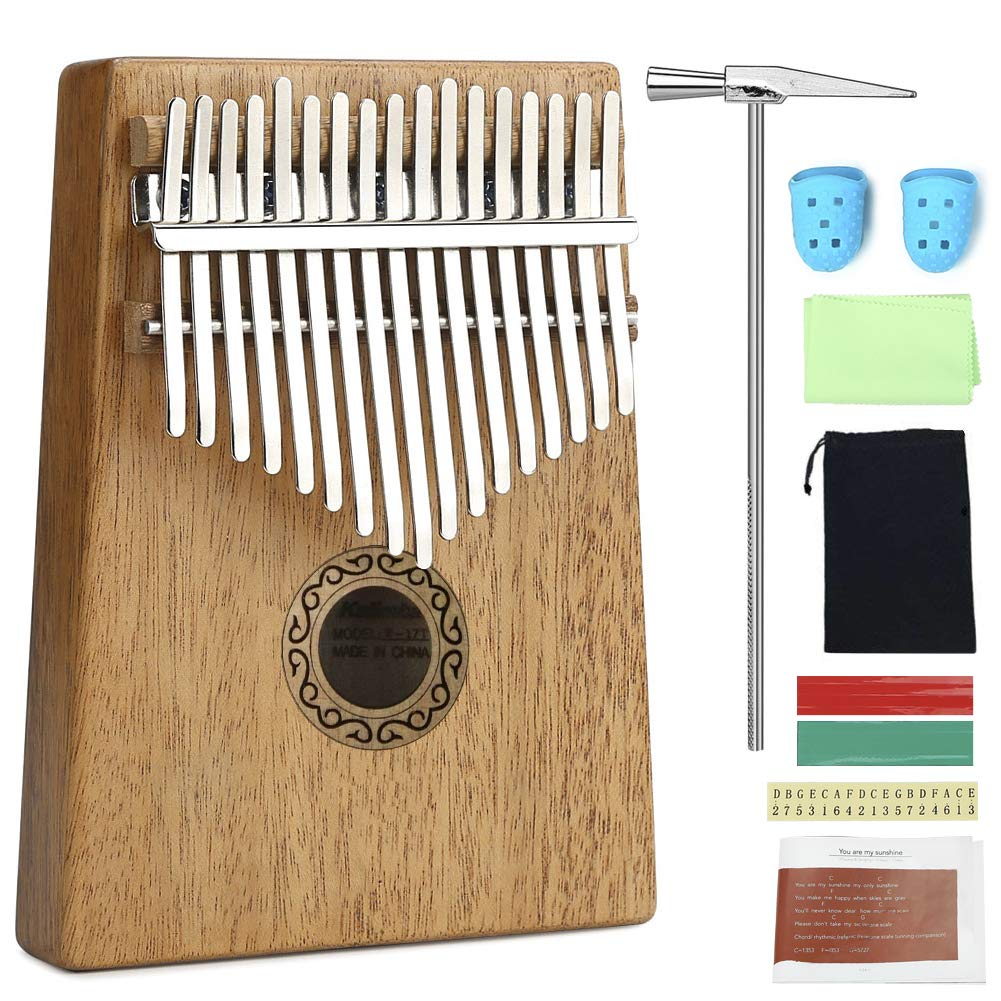 Lujex 17 Keys Kalimba Thumb Mbira Finger Piano Pocket Size for Beginners and Children (CH-UKLE12)