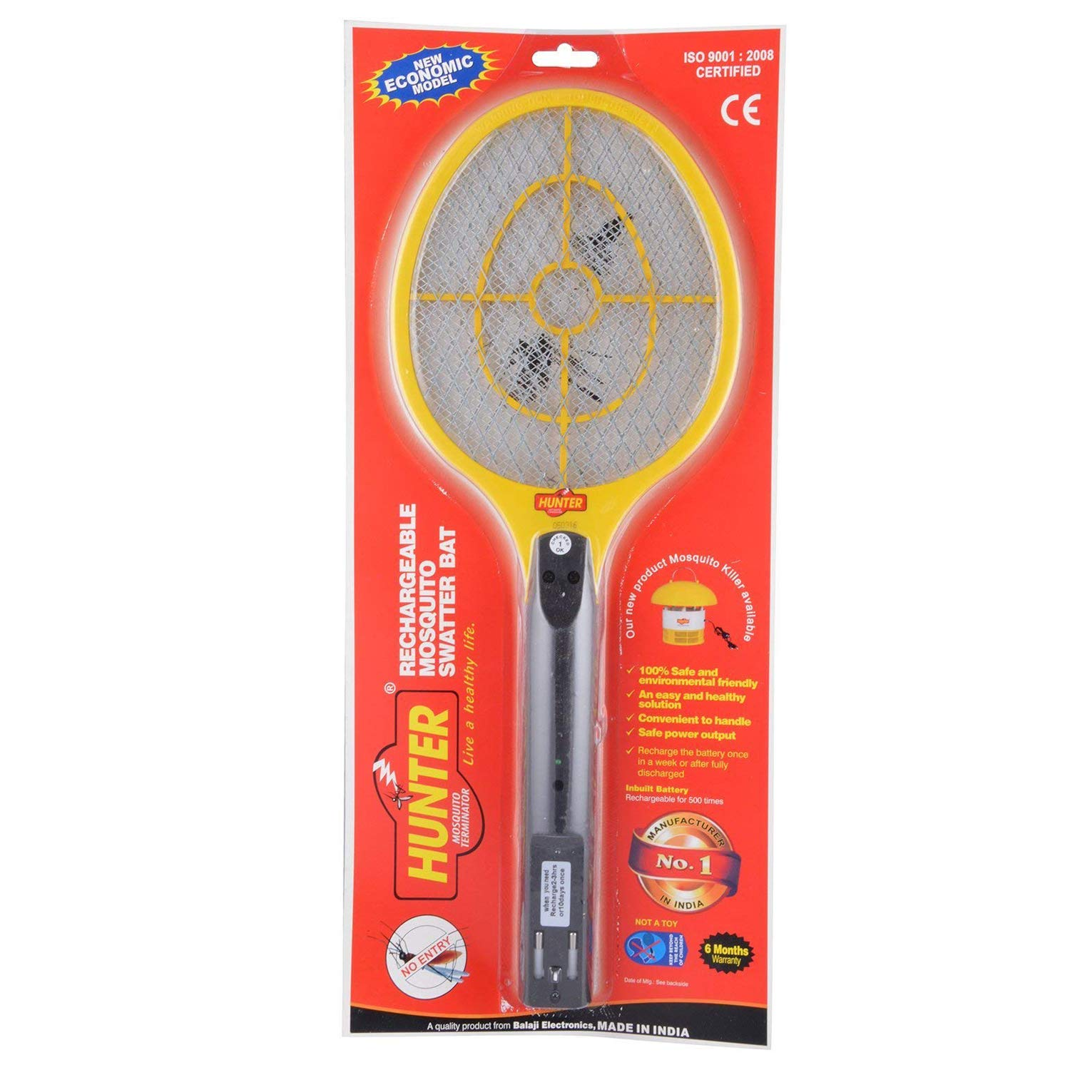 Hunter Brand Mosquito Killer Swatter Zapper Bat Racket Rechargeable 100% Environment Friendly Shock Proof Safe for Human, Pets - Mosquito Bat