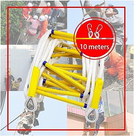 QINEOR Escalera de Cuerda de Escape de Incendios, Alta Escalada Antideslizante Trabajo Aéreo, Fuego Rescate Seguridad con Ganchos, para Niños y Adultos Escapar de la Ventana y el Balcón,10meters: Amazon.es: Hogar