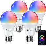 TECKIN Bombilla LED inteligente con Luz Cálida WiFi 2800k-6200k ajustable y lámpara multicolor Funciona conAlexa,Móvil…