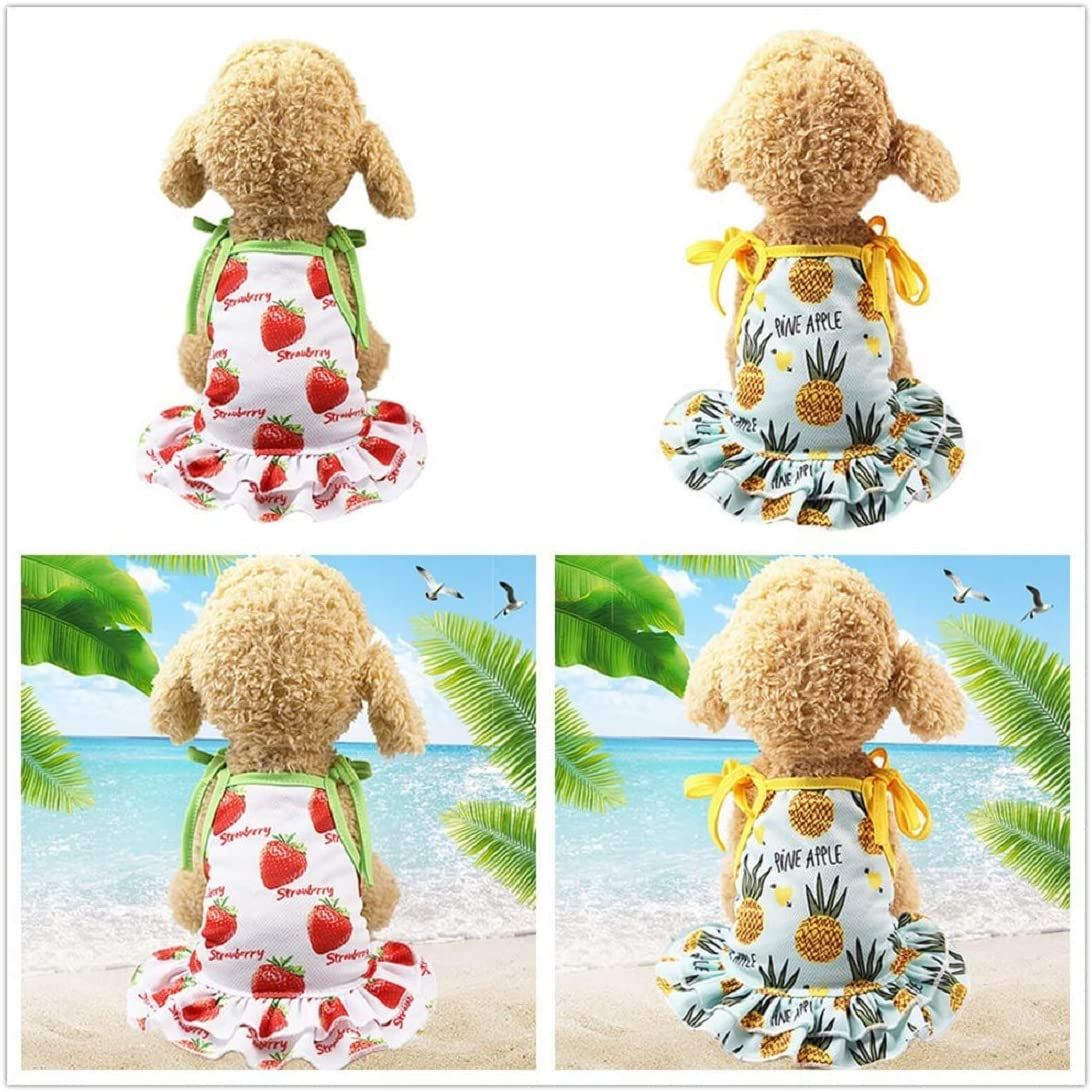 Pet Puppy Dress Pineapple Fruits Vest Skirt Cute Puppy Apparel Sundress Beach Dress for Pet Dog Clothes Cozy Apparel Red