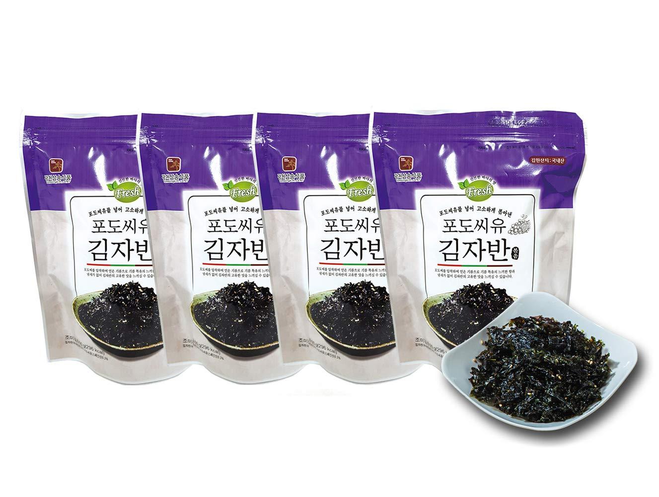 Premium All Natural Original Korean Roasted Seasoned Crispy Seaweed Flakes 2.1 oz (4 Pack) Gim Nori Laver Healthy Vegan Snacks Non-GMO Gluten Free