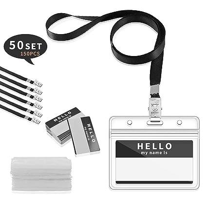Gimars [50 SETS] ID Badge Holder/tarjeta identificativa colgante y funda tarjeta identificación horizontal para conferencias Eventos Empleados ...