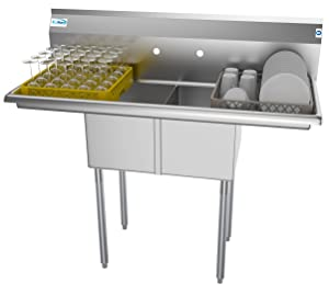 """KoolMore 2 Compartment Stainless Steel NSF Commercial Kitchen Prep & Utility Sink with 2 Drainboards - Bowl Size 12"""" x 16"""" x 10"""""""