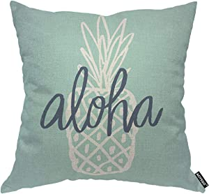AOYEGO Aloha Pineapple Throw Pillow Cover Aloha Tropical Fruit Hawaii Healthy Organic Doodle Vitamin Ananas Food Pillow Case 18x18 Inch Decorative Men Women Boy Girl Room Cushion Cover for Home Couch