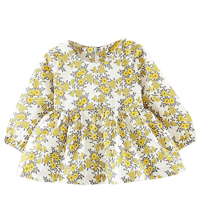 Sencillo Vida Vestido Niñas, Vestido Bebe Niña, Vestido de Princesa Manga Larga Floral Impresión